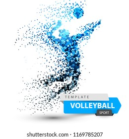 Volleyball dot illustration on the white background. Vector eps 10