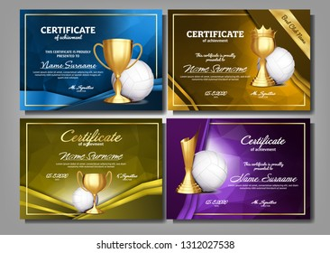 Volleyball Game Certificate Diploma With Golden Cup Set Vector. Sport Award Template. Achievement Design. Honor Background. Champion. Best Prize. Winner Trophy. Template Illustration