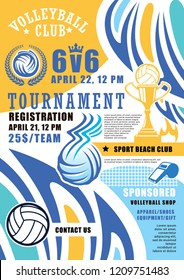 Volleyball game tournament poster. Vector volleyball ball and victory cup with wings and fire flame in laurel, referee whistle. Beach volley sport championship