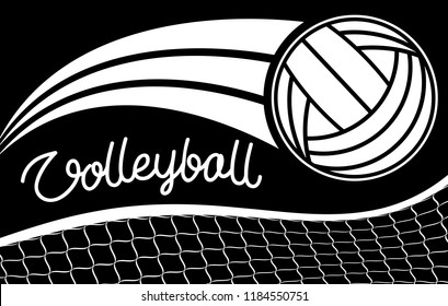 Volleyball hand drawn letters , grid and ball. Vector elements for your sport design.