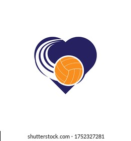 Volleyball heart shape concept logo. Volleyball ball logo design.