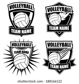 Volleyball insignia badge icon symbol set EPS 10 vector, grouped for easy editing. No open shapes or paths.