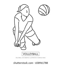 Volleyball line drawing illustration in various poses - line drawing vector illustration graphic design