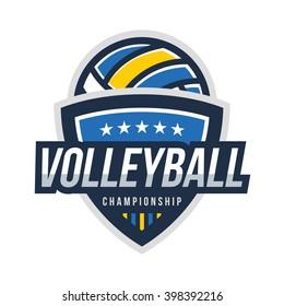 Volleyball Logo Badge, American Logo Sport
