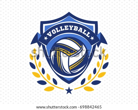 volleyball logo emblem icons designs templates のベクター画像素材