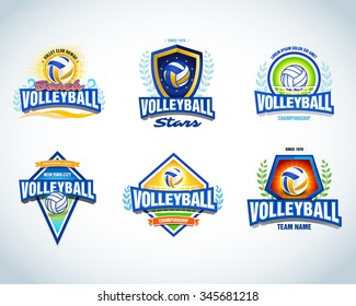 Volleyball logo templates set. Volleyball emblem, logotype template, t-shirt apparel design. Volleyball ball. Sport team badge for tournament or championship. Vector set.