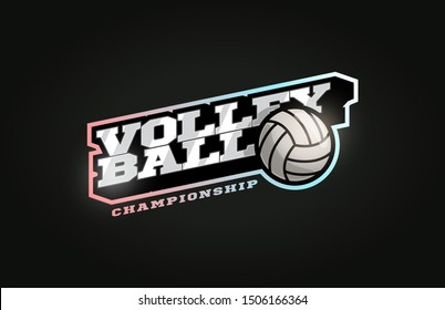 Volleyball mascot Modern professional sport Typography in retro style. Vector design emblem, badge and sporty template logo design
