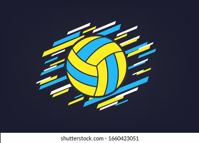 Volleyball modern colored abstract sports banner. Background for tournament. Flat style. Vector illustration.