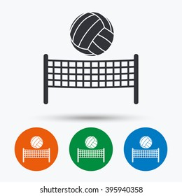 Volleyball net with ball icon. Beach sport symbol. Flat signs in circles. Round buttons for web. Vector