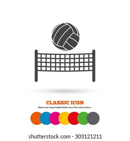 Volleyball net with ball sign icon. Beach sport symbol. Classic flat icon. Colored circles. Vector