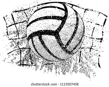 A volleyball and net closeup with sand and grunge covering it.