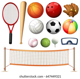 Volleyball net and different types of balls illustration