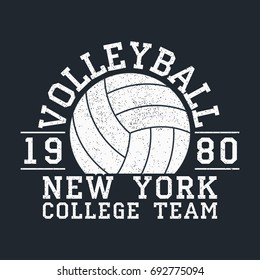 Volleyball New York grunge print for apparel with ball. Typography emblem for t-shirt. Design for athletic clothes. Vector illustration.