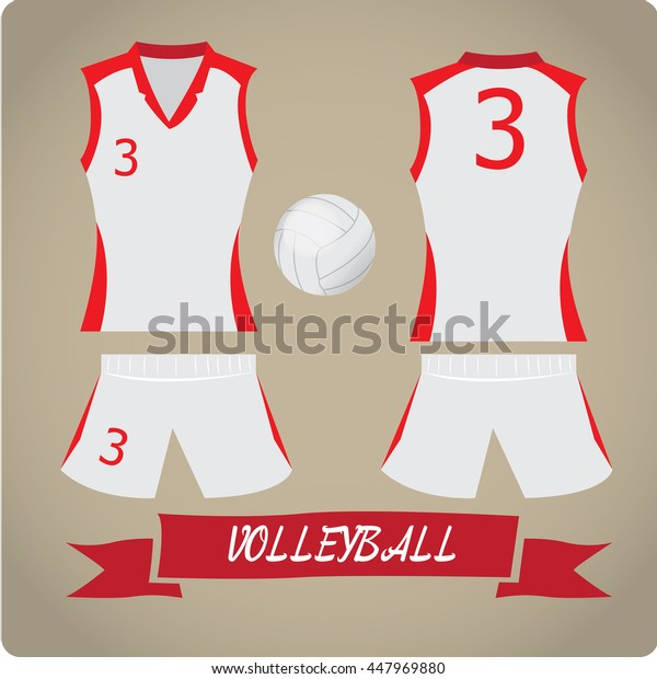 Volleyball objects, Sport uniform, Vector illustration