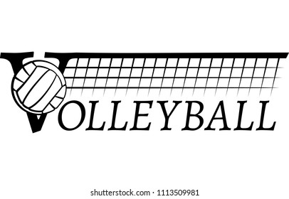 Volleyball over the letter V with a volleyball net stretched out over the top of the word volleyball.