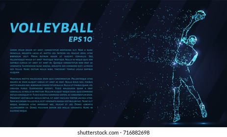 Volleyball, particle divergent composition, vector illustration. Silhouette of a volleyball from particles