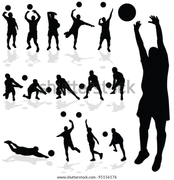 Volleyball Player Black Silhouette In Various Poses Stock