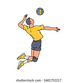 Volleyball player man cartoon character jumping high serving ball, sketch vector illustration isolated on white background. Sport team athlete in motion image.