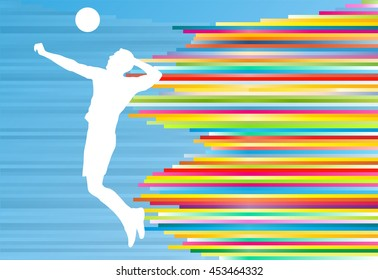 Volleyball player man silhouette abstract vector background illustration