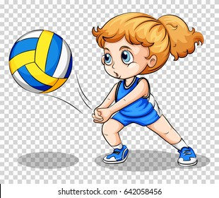 Volleyball player on transparent background illustration