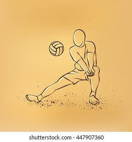 Volleyball player plays volleyball. Vector retro drawing illustration on the retro background.