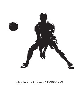 Volleyball player returning ball, abstract isolated vector silhouette. Ink drawing. Team sport. Beach volleyball