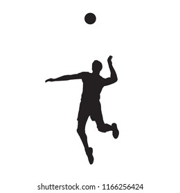 Volleyball player serving ball, isolated vector silhouette