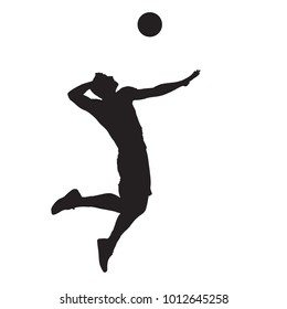 Volleyball player spiking ball, isolated vector silhouette. Side view