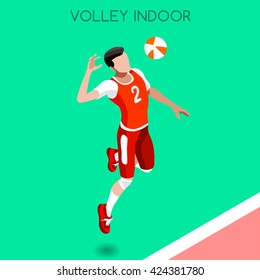 Volleyball Player Sportsman Games Icon Set. 3D Isometric Indoor Volleyball. Sporting Championship People Volley Match Competition. Sport Infographic events Volley Vector Illustration.