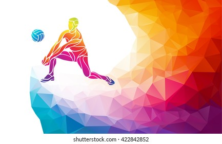 Volleyball player. Team sport vector polygonal banner