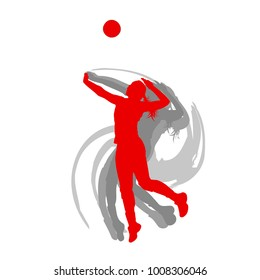 Volleyball player woman in red color vector background fast motion concept