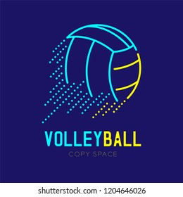 Volleyball rushing logo icon outline stroke set dash line design illustration isolated on dark blue background with Volleyball text and copy space, vector eps 10