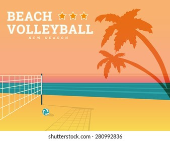 Volleyball seasonal illustration with bright sunset and sport net on the beach. Text outlined. Free font RobotoSlab