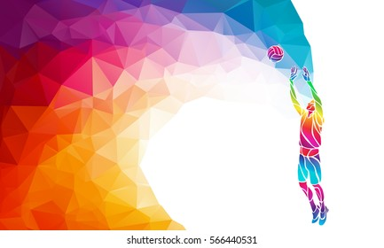 Volleyball setter player with ball. Beach sport, colorful vector illustration with background or banner template in trendy abstract colorful polygon style and rainbow back