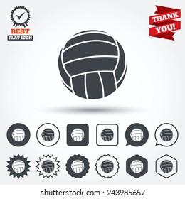 Volleyball sign icon. Beach sport symbol. Circle, star, speech bubble and square buttons. Award medal with check mark. Thank you. Vector