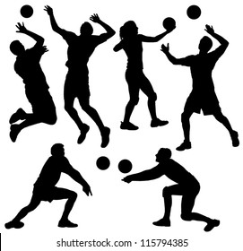 Volleyball Silhouette on white background