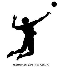 Volleyball, Silhouette on White Background