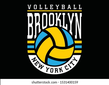 Volleyball sport, Brooklyn New york city typography, t-shirt graphics, vectors