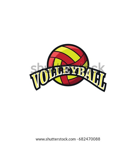 Volleyball Sport Emblem Simple Logo Vector