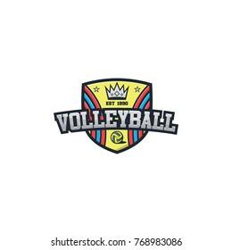 Volleyball sport logo 3d vector