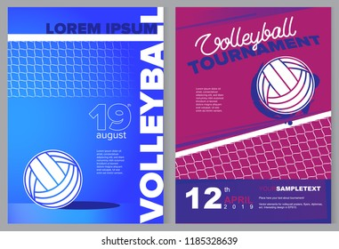 Volleyball sport poster in vector. Voleyball net and ball. Design elements for your brochure, booklet, banner, leaflet.