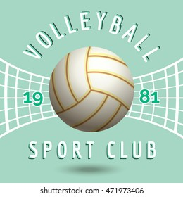 Volleyball sport team emblem with volleyball net in vintage style vector illustration