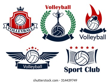 Volleyball sporting club or team emblems with volleyball balls, net, trophy, whistle, flame and wings, supplemented by heraldic shield with crown, laurel wreath, ribbon banners and stars