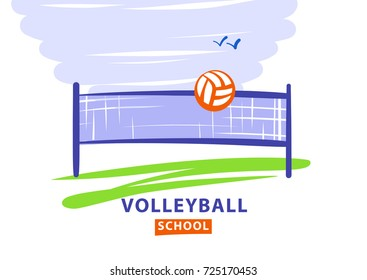Volleyball team, school, club template logo. Vector illustration. Line sketch image ball and net. City street championship sign. Print on t-shirt.