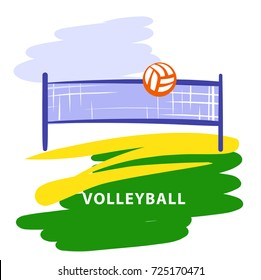 Volleyball team, school, club template logo. Vector illustration. Line sketch image ball and net. Championship sign. Print on t-shirt.