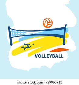 Volleyball team, school, club template logo. Vector illustration. Line sketch image ball and net. Beach competition championship sign. Print on t-shirt.
