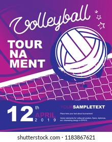 Volleyball tournament design. Vector template for sport diploma, poster, flyer, banner, label, sertificate.