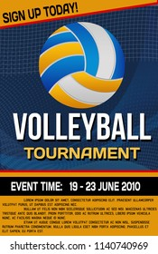 Volleyball tournament flyer or poster background, vector illustration