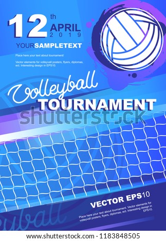 volleyball tournament poster banner flyer template stock vector