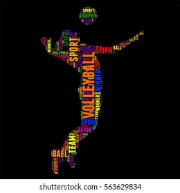 volleyball Typography word cloud colorful Vector illustration